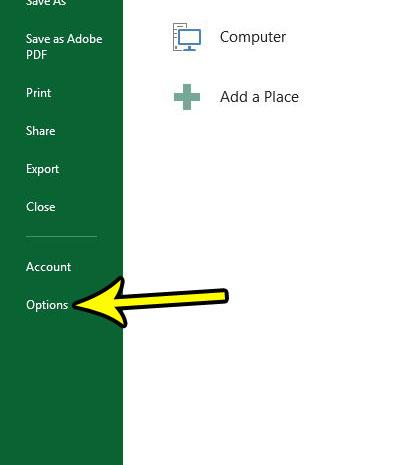 open excel options menu