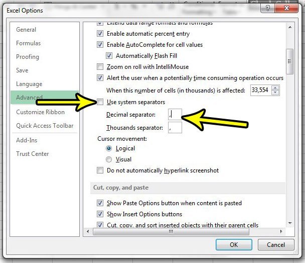 how to use a comma instead of a period for decimal separator in excel