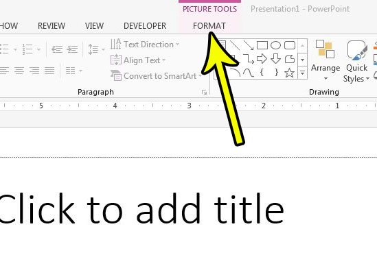 click the format tab under picture tools at top of window