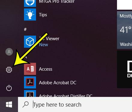 open settings menu