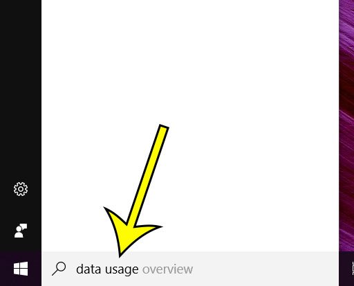 type data usage into search field