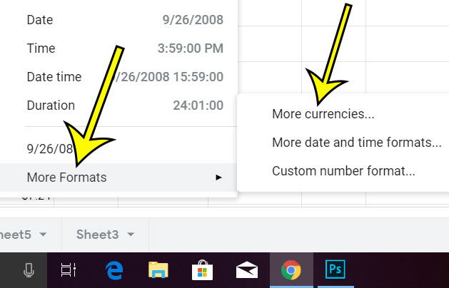 how to use other currencies in google sheets