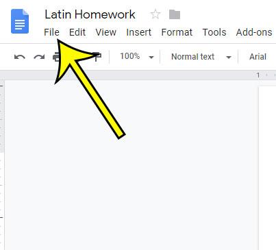 open the google docs file menu