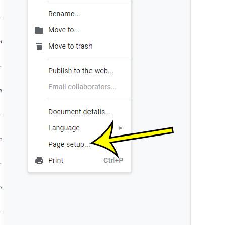 open the google docs page setup menu