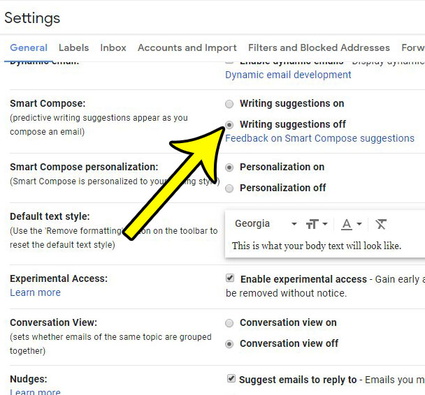 how to disable smart compose in gmail