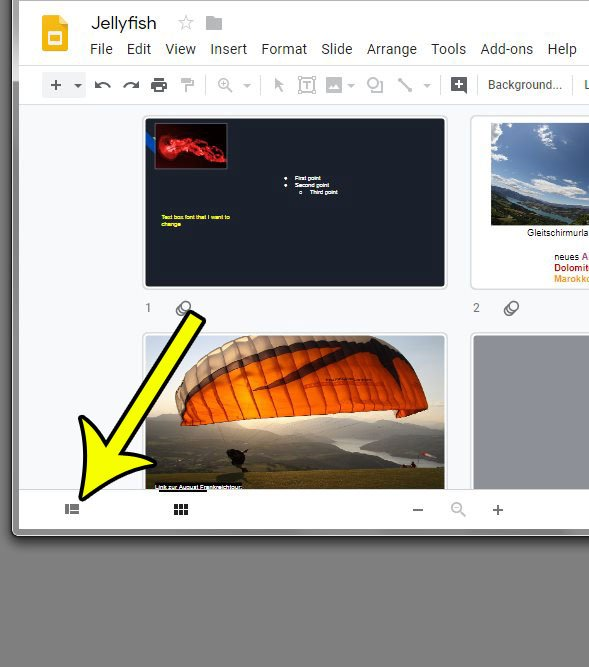 how to return to normal view in google slides