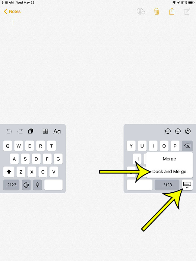 how to exit the split keyboard on an ipad