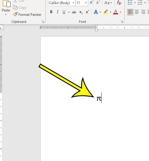 how to insert the pi symbol in microsoft word