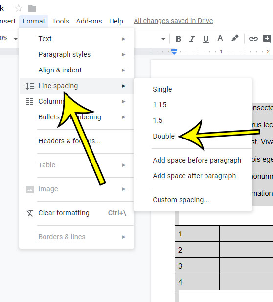 how to switch to double spacing in google docs