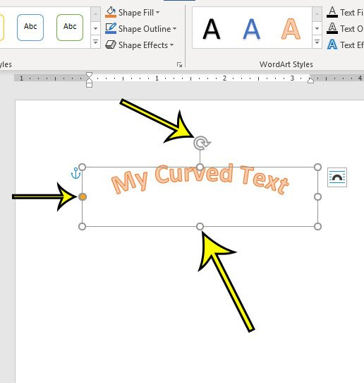 how to curve text in word