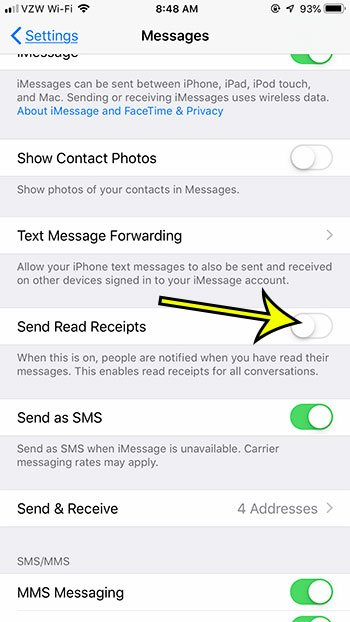 how to stop sending text message read receipts on an iphone 7