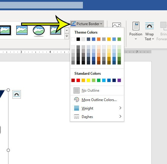 how to add a border to a picture in Microsoft Word