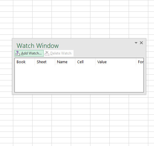 the Watch Window in Excel
