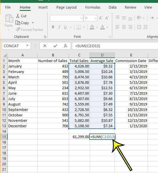 how to sum multiple columns in Exccel