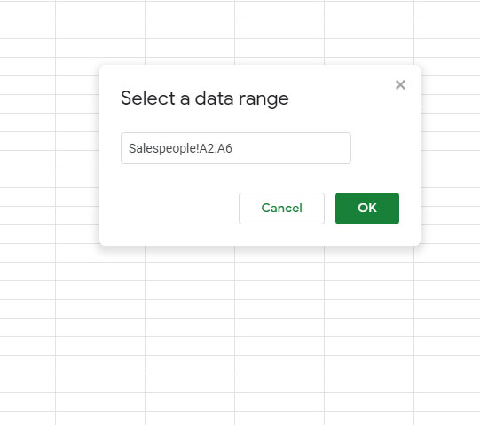 select the cells containing the data for the list