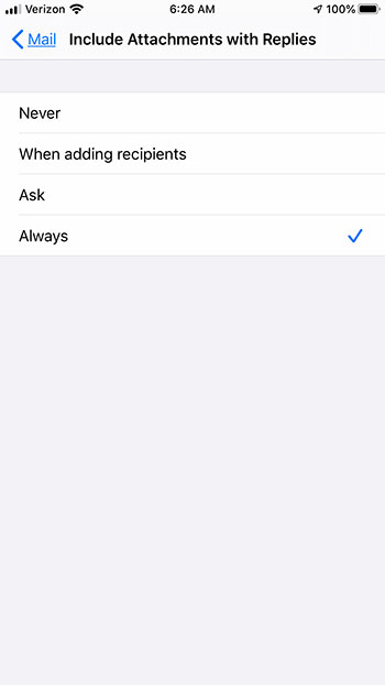 how to include original attachment when replying to emails on an iPhone