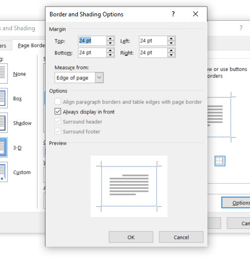 Word page borders Options menu