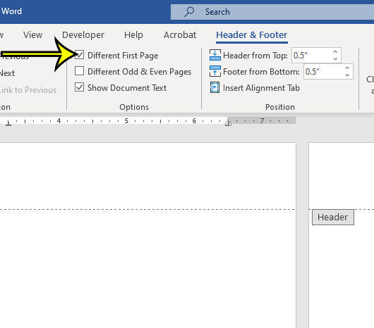 Microsoft Word page numbers Different First Page option