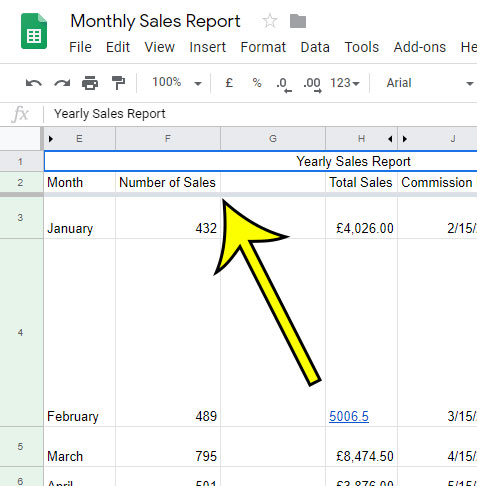 example of the gray freeze bar in Google Sheets