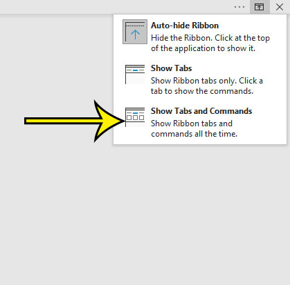 how to show the full ribbon in Microsoft Word 2016