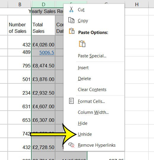 how to unhide columns in Excel 2016