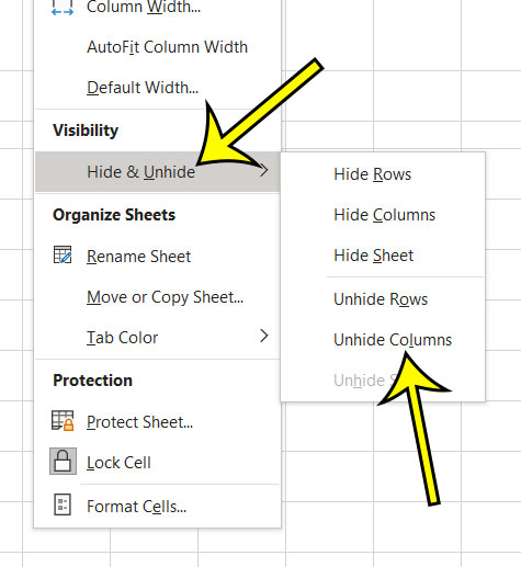 another way to unhide columns in Excel