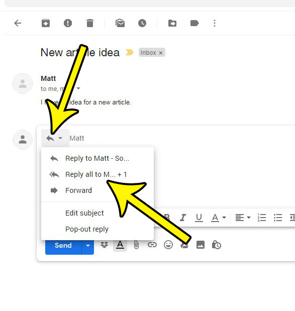 change the reply type in Gmail