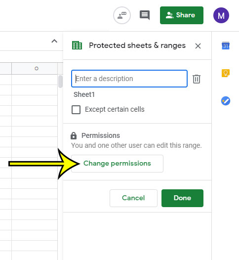 click the Change permissions button