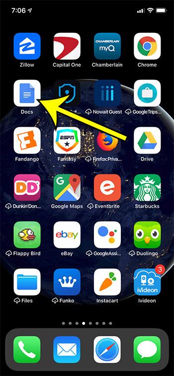 open the Google Docs app