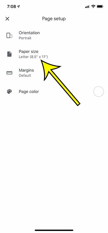 choose the Paper size option