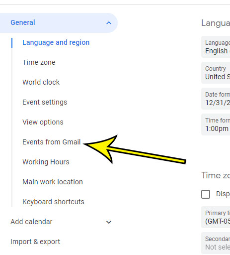 choose the Events from Gmail tab