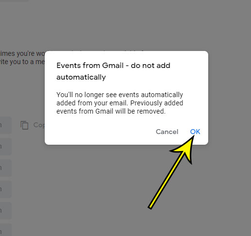 confirm disabling of automatic Gmail Google Calendar event adding