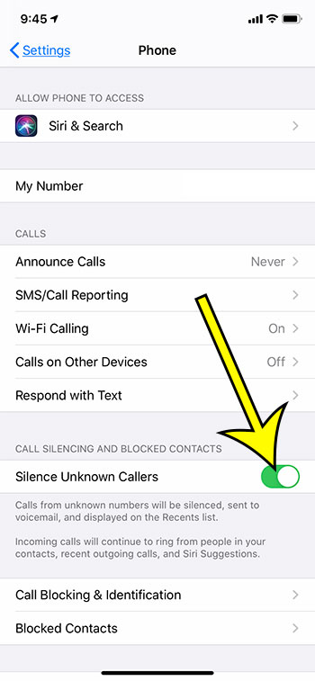 how to silence unknown callers on an iPhone 11
