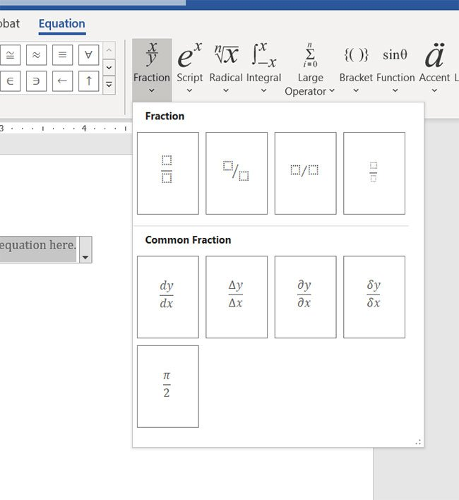 how to insert a fraction in a Microsoft Word document