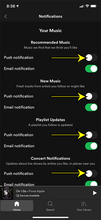 how to turn off spotify in app notifications on an iPhone