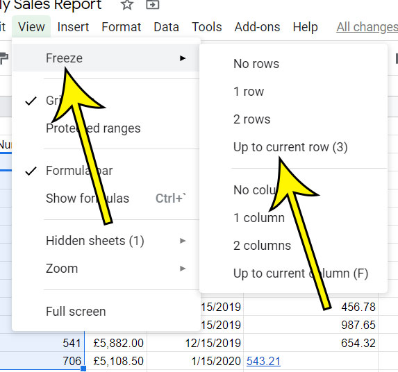 how to lock a row in Google Sheets