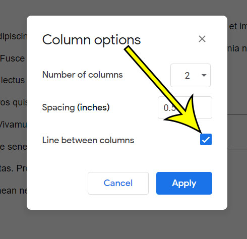 how to add a line between columns  in Google Docs