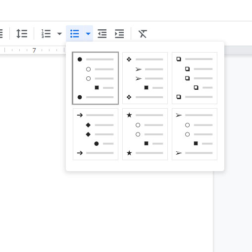 how to change Google Docs bullet points