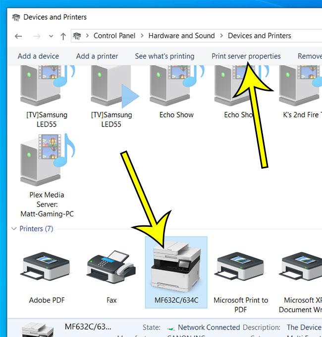 click a printer, then click Print server properties