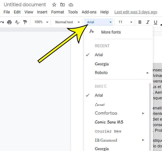 how to change the font for the whole document in Google Docs
