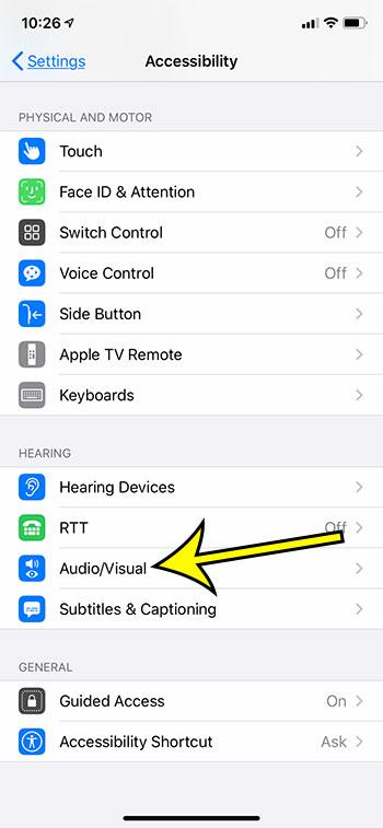 choose the Audio Visual menu