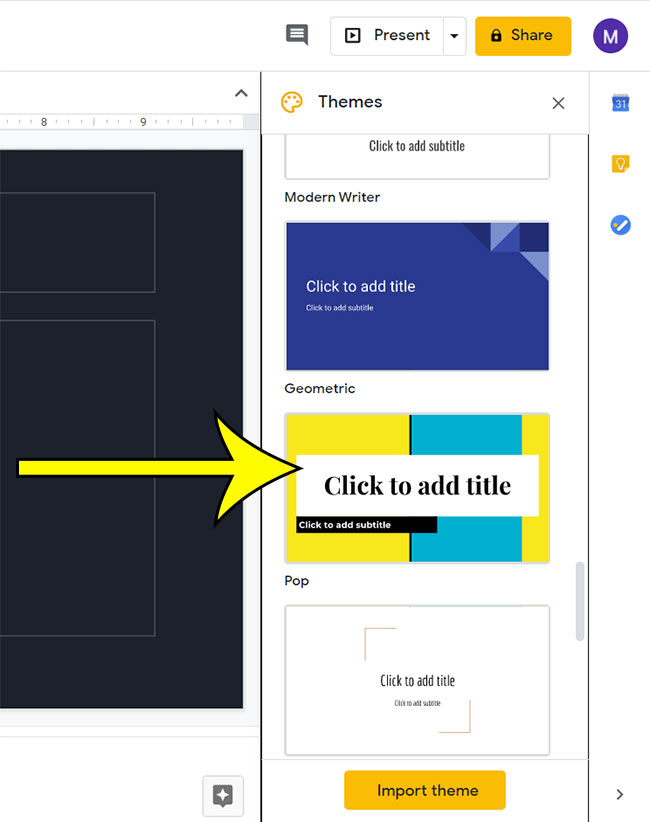 how to change theme in Google Slides