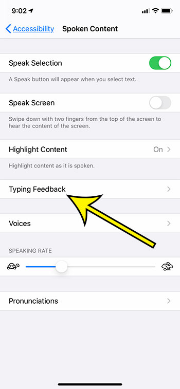 select Typing Feedback