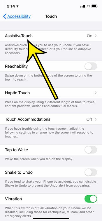 select the Assistive Touch option
